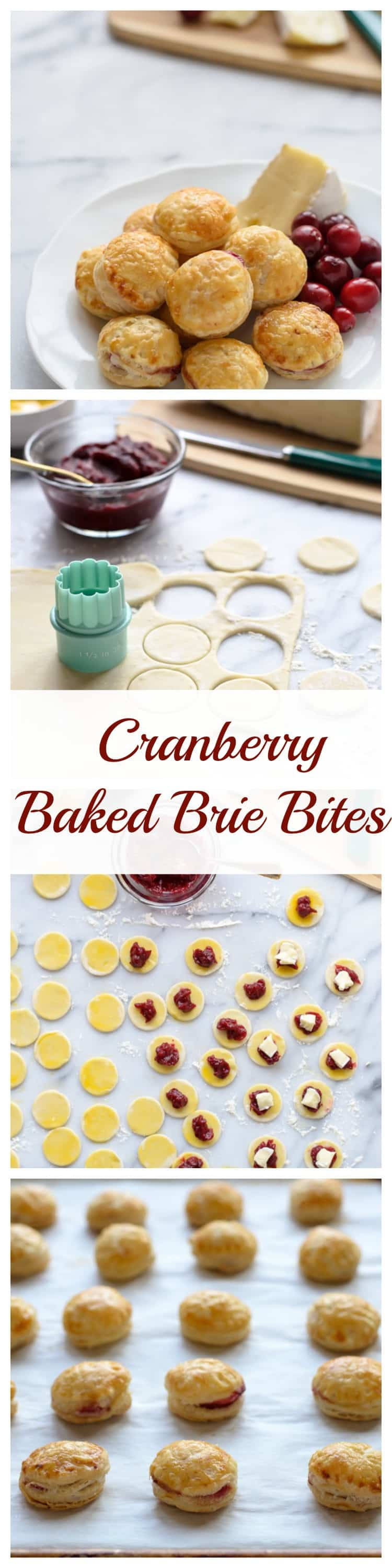 Cranberry Brie Puff Pastry Bites. Each one is like a mini baked Brie! Make and freeze ahead for an easy Thanksgiving or Christmas appetizer.