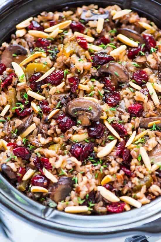 slow cooker holiday stuffing with fresh cranberries