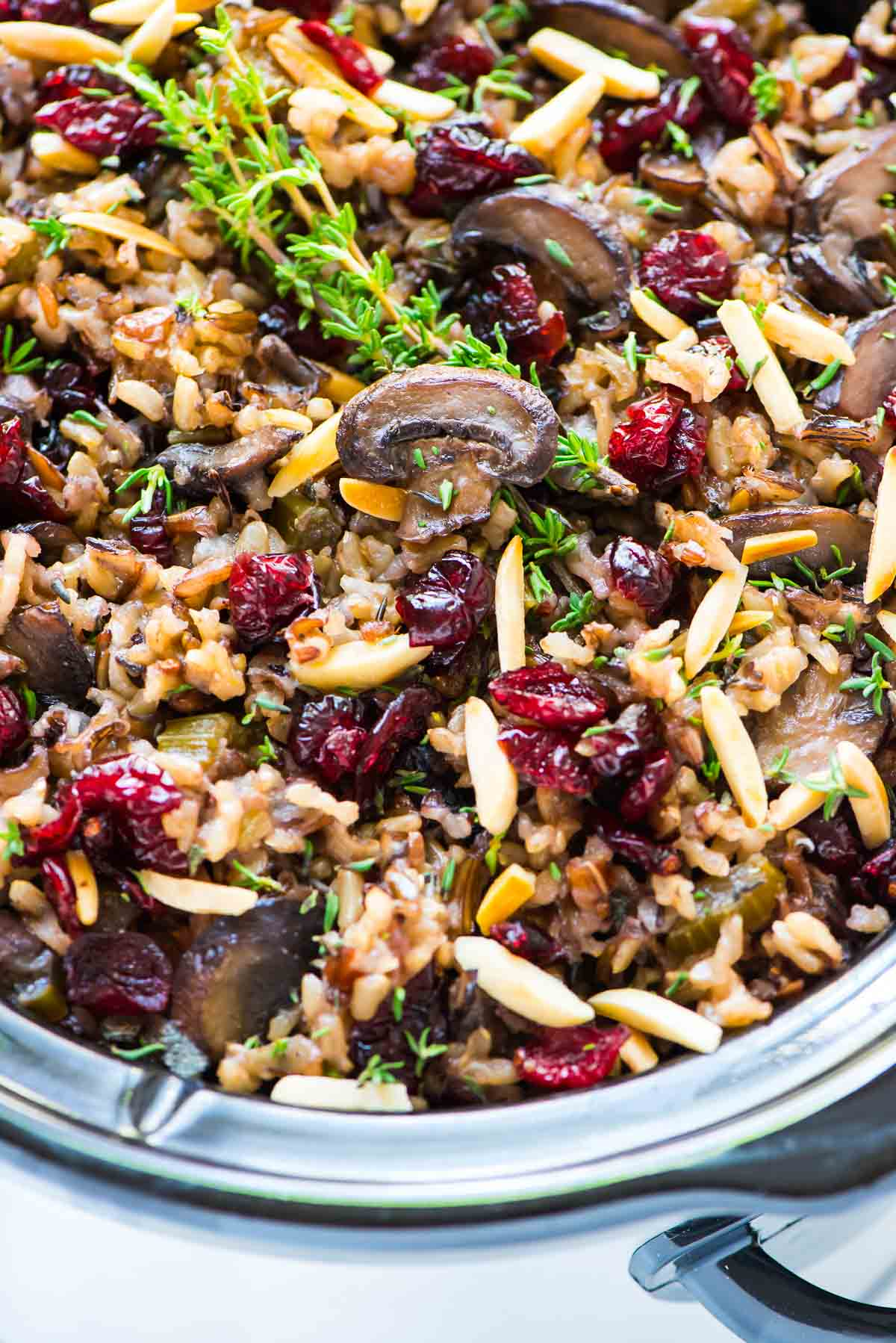 Crock Pot Stuffing with Wild Rice, Cranberries, and Almonds. The BEST ...