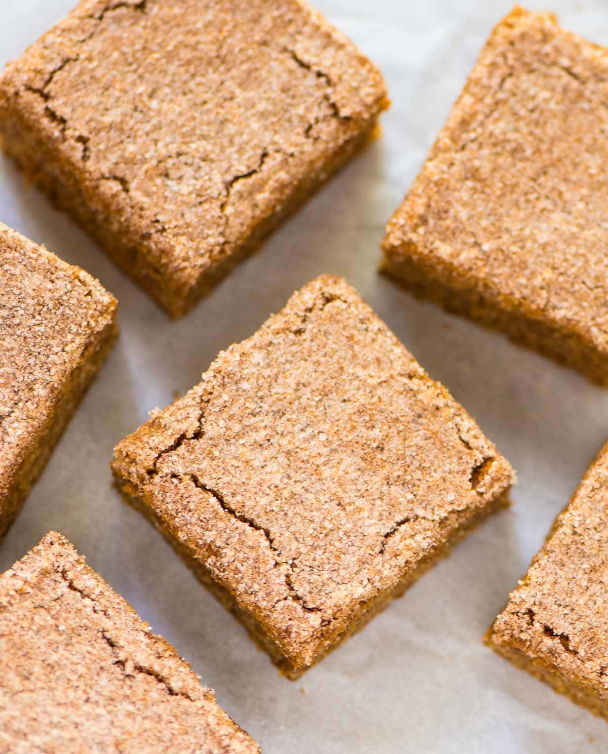 Cinnamon Blondies. Soft, chewy with a crackly cinnamon sugar top ...