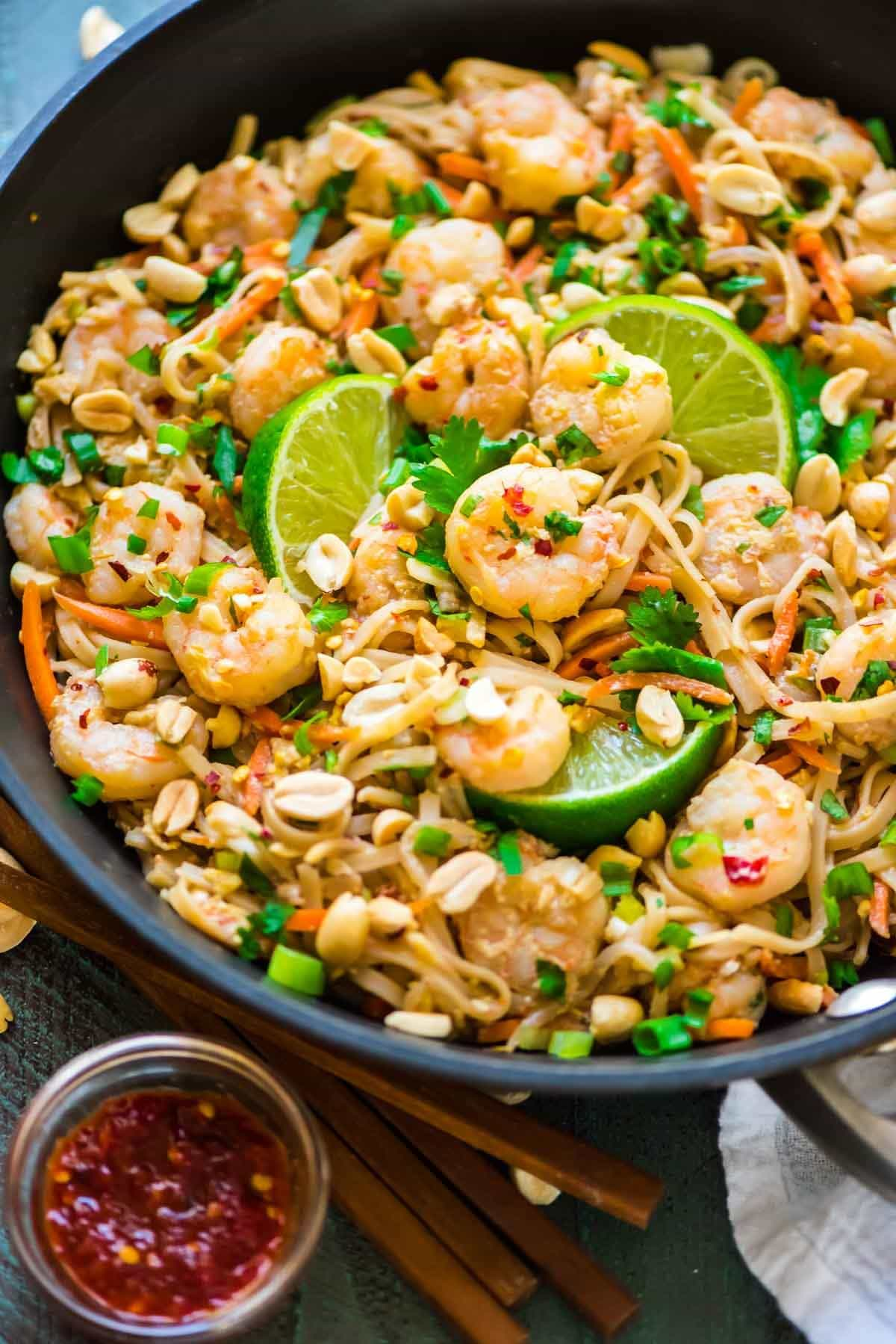 Healthy Shrimp Pad Thai. EASY and SO delicious! Ready in 15 minutes. We couldn't stop eating it! Recipe at wellplated.com   @wellplated {gluten free}