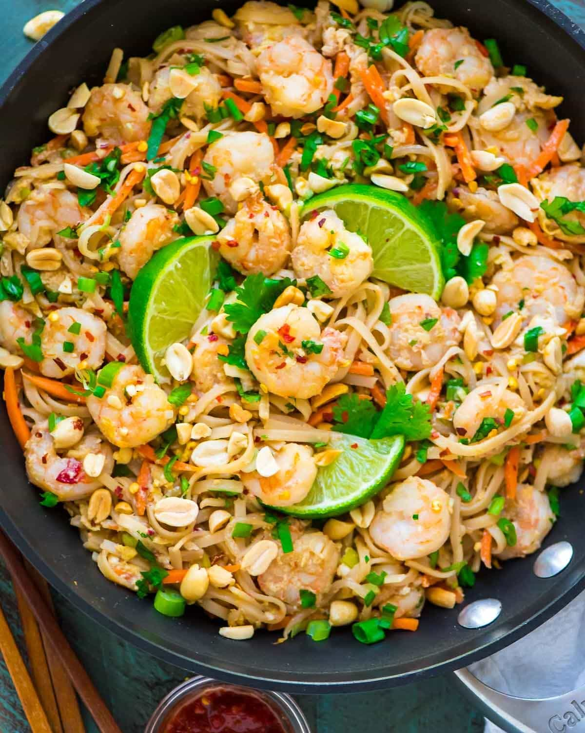 Healthy Shrimp Pad Thai. Easy recipe without special ingredients. Anyone can make this and it's even better than take out! Recipe at wellplated.com | @wellplated