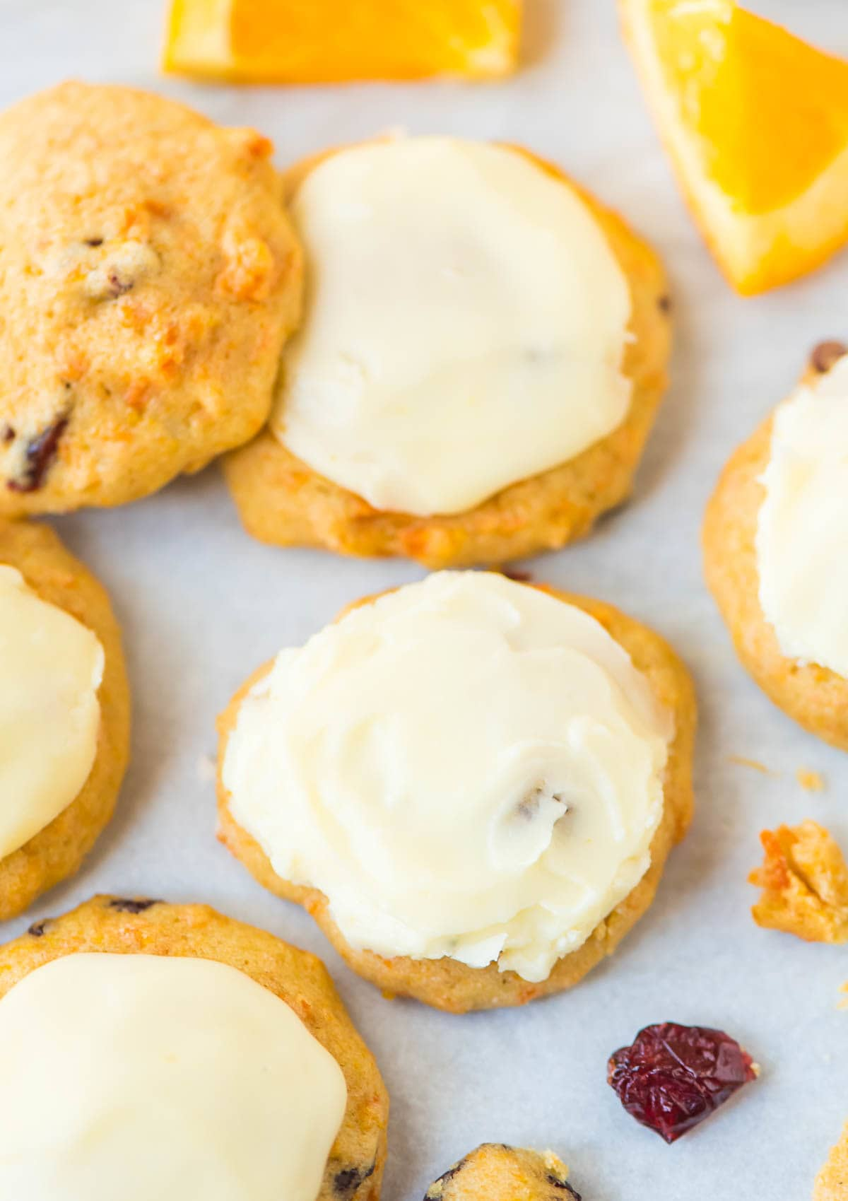 Frosted Orange Drop Cookies with Orange Frosting and cranberries. So soft and easy to make! Recipe at wellplated.com   @wellplated