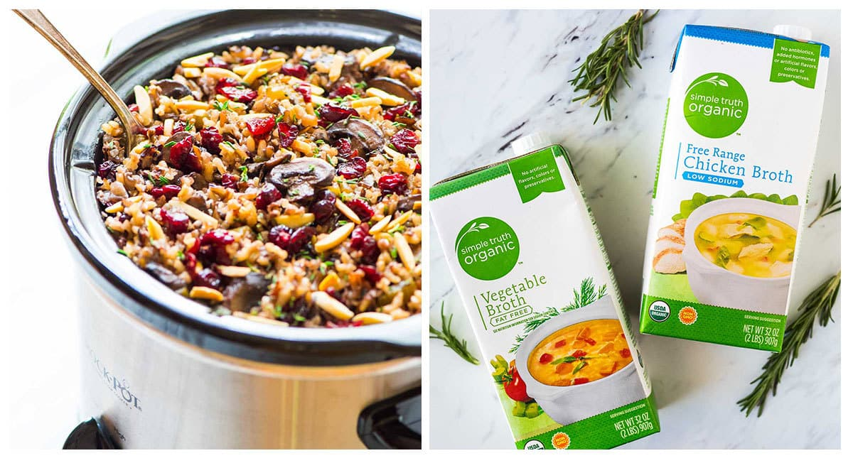 Crock Pot Stuffing with Wild Rice, Cranberries, and Almonds. The BEST, easiest stuffing recipe for Thanksgiving or anytime you need a quick side. Gluten free, vegan, and dairy free, so everyone can enjoy! Recipe at wellplated.com | @wellplated
