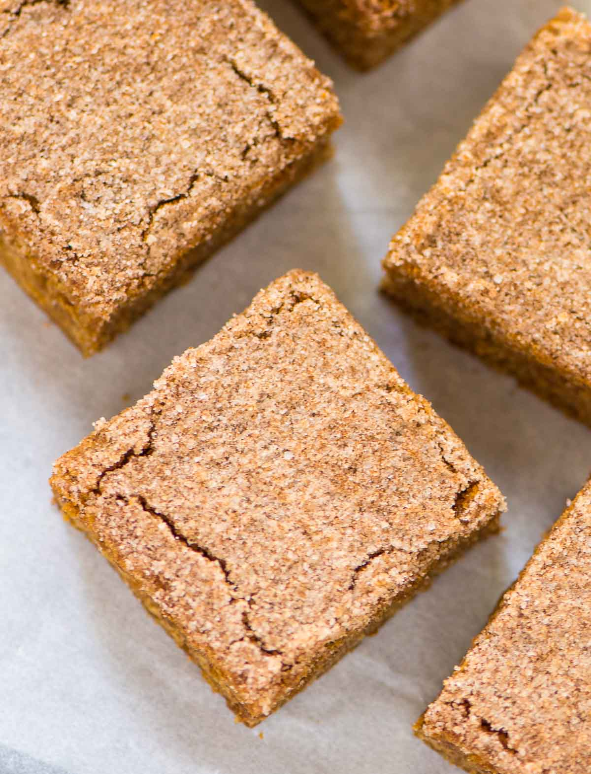 Cinnamon Blondies. PERFECT, soft, and chewy with a buttery cinnamon sugar topping. Easy, one bowl recipe that everyone loves! Recipe at wellplated.com | @wellplated