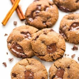 PERFECT Soft and Chewy Chocolate Ginger Molasses Cookies. Dark chocolate and fresh ginger make this the BEST old fashioned gingersnap cookie! Must make for Christmas cookie trays or anytime you need a special treat. Recipe at wellplated.com   @wellplated