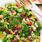 Healthy Broccoli Cranberry Salad with Bacon. Light and crunchy with the BEST dressing! Perfect side dish for potlucks. The longer it sits, the better it gets! Recipe at wellplated.com | @wellplated