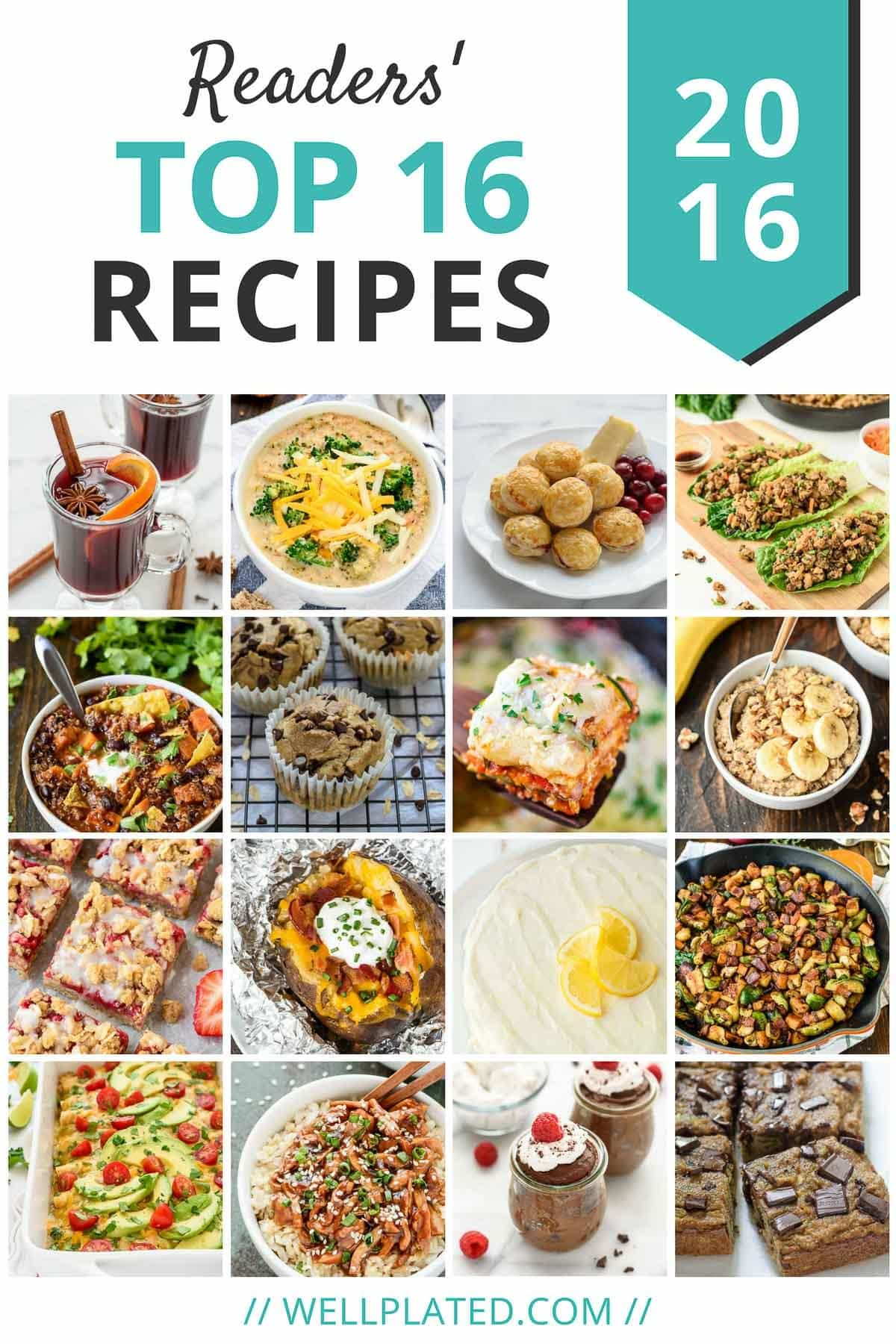 Our Readers Top 16 Recipes of 2016. Easy and healthy dinner recipes, healthy desserts, snacks, and more! | wellplated.com @wellplated
