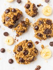 Banana oatmeal cookies on a white countertop