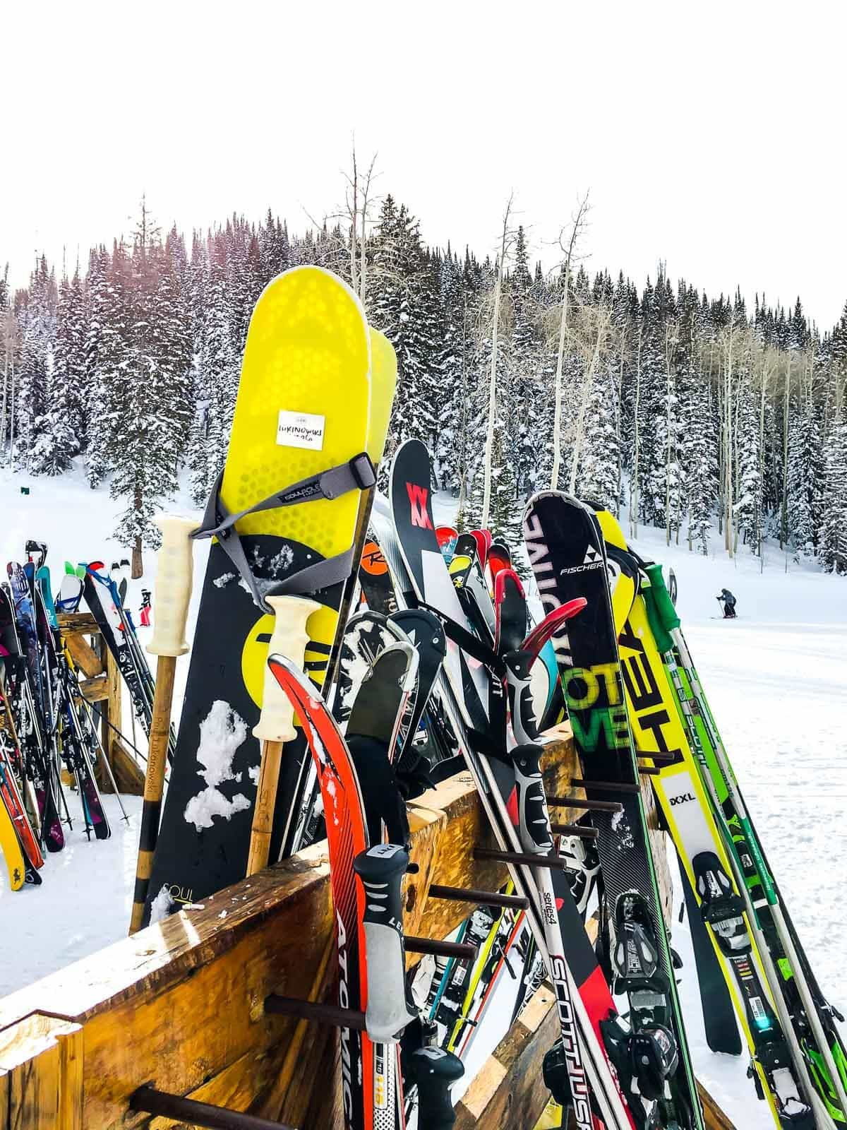 A ski and snowboard storage spot at Deer Valley