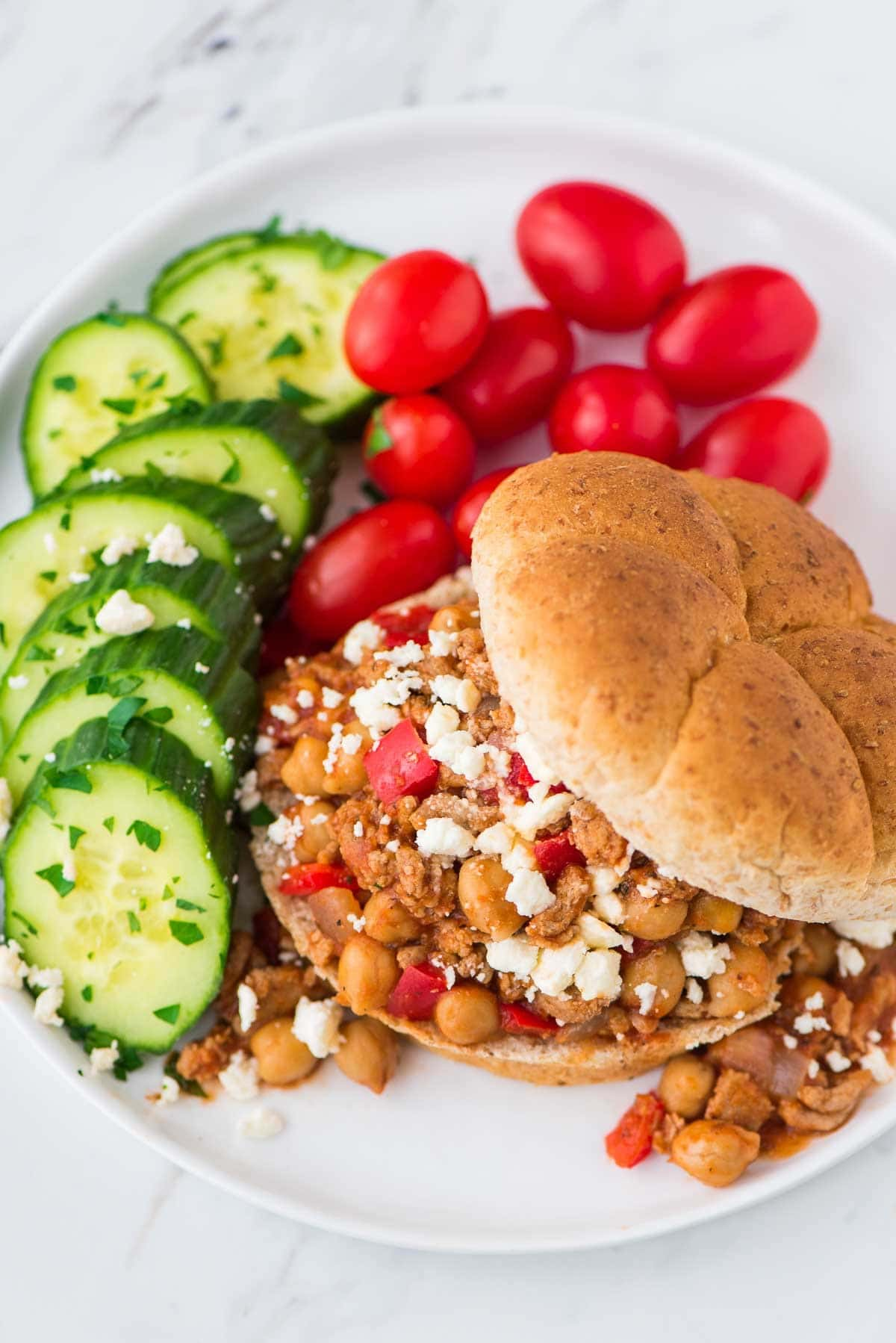Homemade Greek Crock Pot Sloppy Joes made with turkey, chickpeas, and feta. Easy, healthy, and delicious! Recipe at wellplated.com | @wellplated