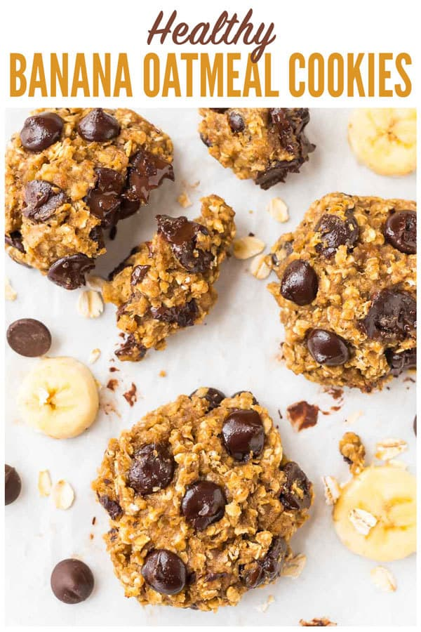 Soft and chewy healthy Banana Oatmeal Cookies with Chocolate Chips. One of the best easy and healthy dessert recipes! Sweet enough for a treat, but healthy enough that you can enjoy them for snacks. Kid-friendly, whole grain, gluten free and vegan-friendly, and absolutely delicious! #wellplated #bananaoatmealcookies #healthycookes #banana