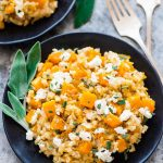 plate of Slow Cooker Risotto with Butternut Squash and goat cheese