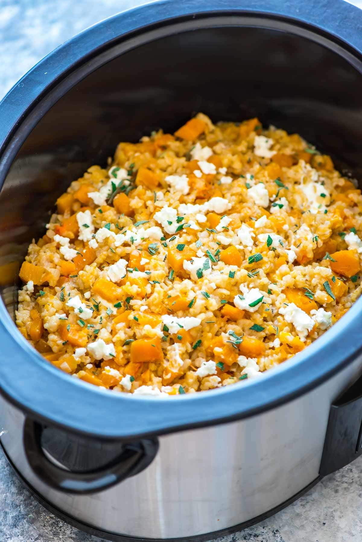 Slow Cooker Risotto with Butternut Squash and Goat Cheese