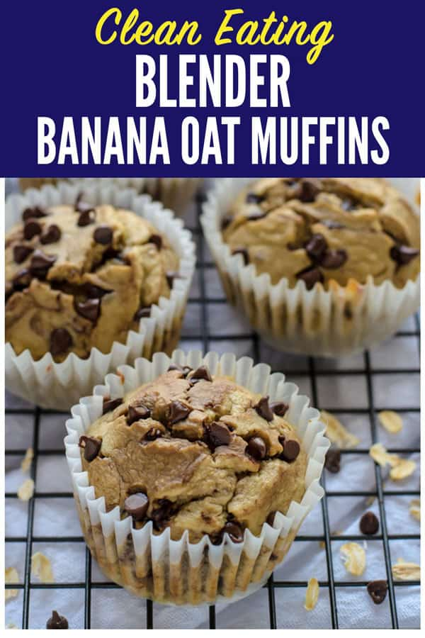 Muffins made with no flour, no butter, and no oil! This healthier banana oatmeal muffins recipe is made in a blender. They're moist and delicious! #healthysnacks #muffins #baking #cleaneating #blenderrecipe #bananamuffin #muffin #glutenfree #sugarfree