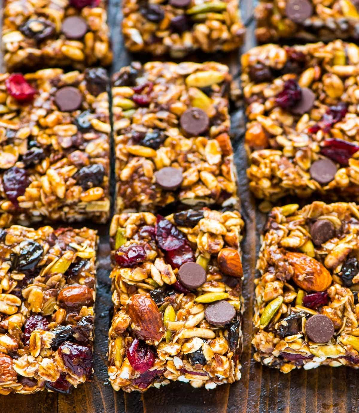 Healthy No Bake Peanut Butter Granola Bars. Made with chocolate chips, oatmeal, honey, and all of your favorite mix-ins. Recipe at wellplated.com | @wellplated