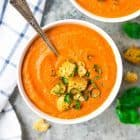 The BEST Roasted Carrot Soup – Easy, delicious, and filling! Healthy recipe with garlic, cumin, and tomatoes. Enjoy on its own or as a simple side. Recipe at wellplated.com | @wellplated