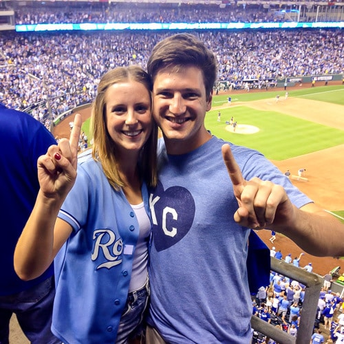 Erin Clarke's sister, Elaine, with her husband at a Kansas City Royals baseball game