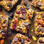Chewy Trail Mix Peanut Butter Granola Bars on a wood background