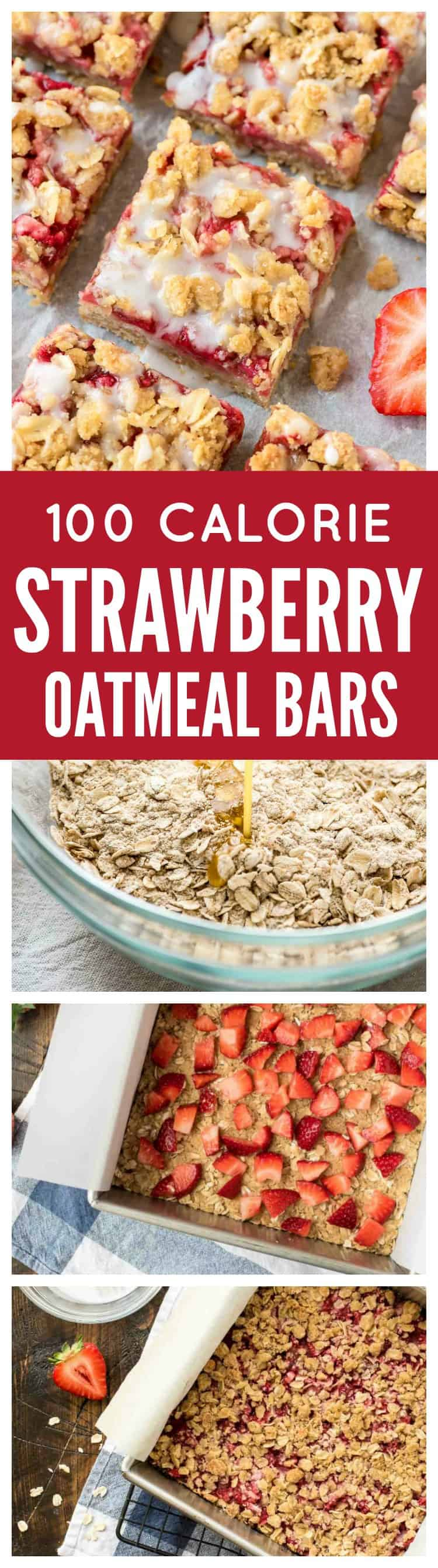 Strawberry oatmeal bars are a healthier fruit dessert, made with fresh strawberries, whole grain butter crumb topping, and a lightly sweetened vanilla glaze. This healthier oatmeal bars recipe is a favorite, because these delicious treats are easy to make and just 100 calories each! @wellplated