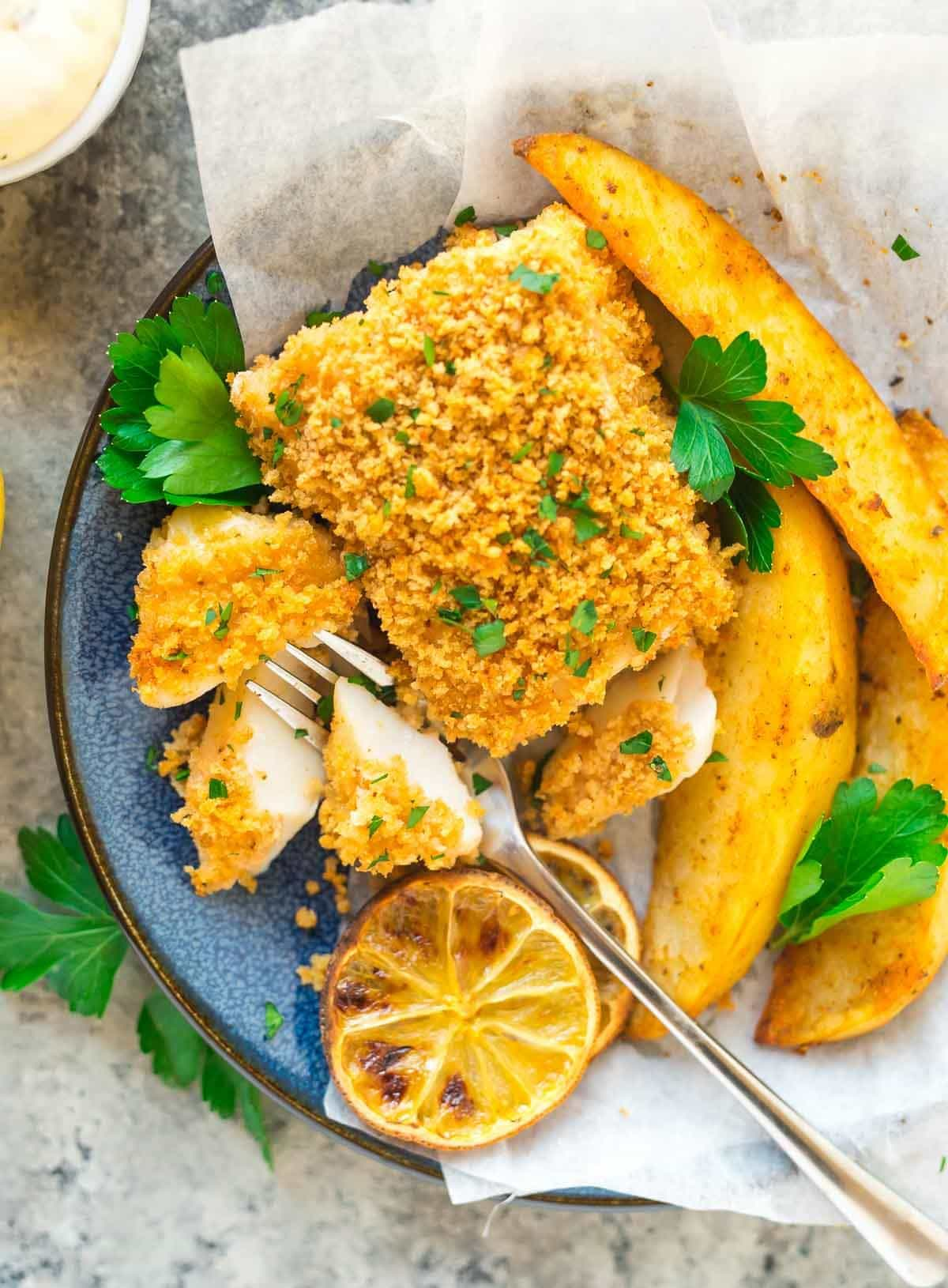 Baked fish and chips recipe well plated by erin for Fish in oven