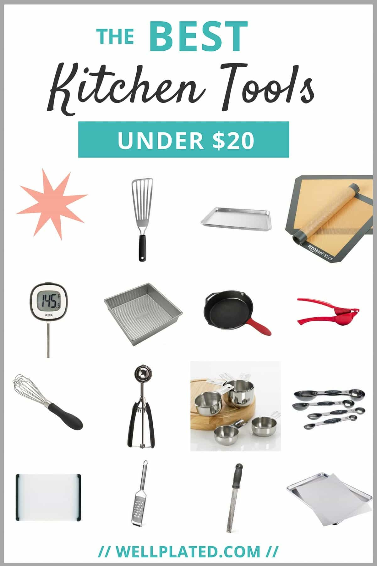The BEST low cost kitchen tools. Less than $20! A must have list for home cooks and anyone looking to stock their kitchen on a budget. From wellplated.com | @wellplated