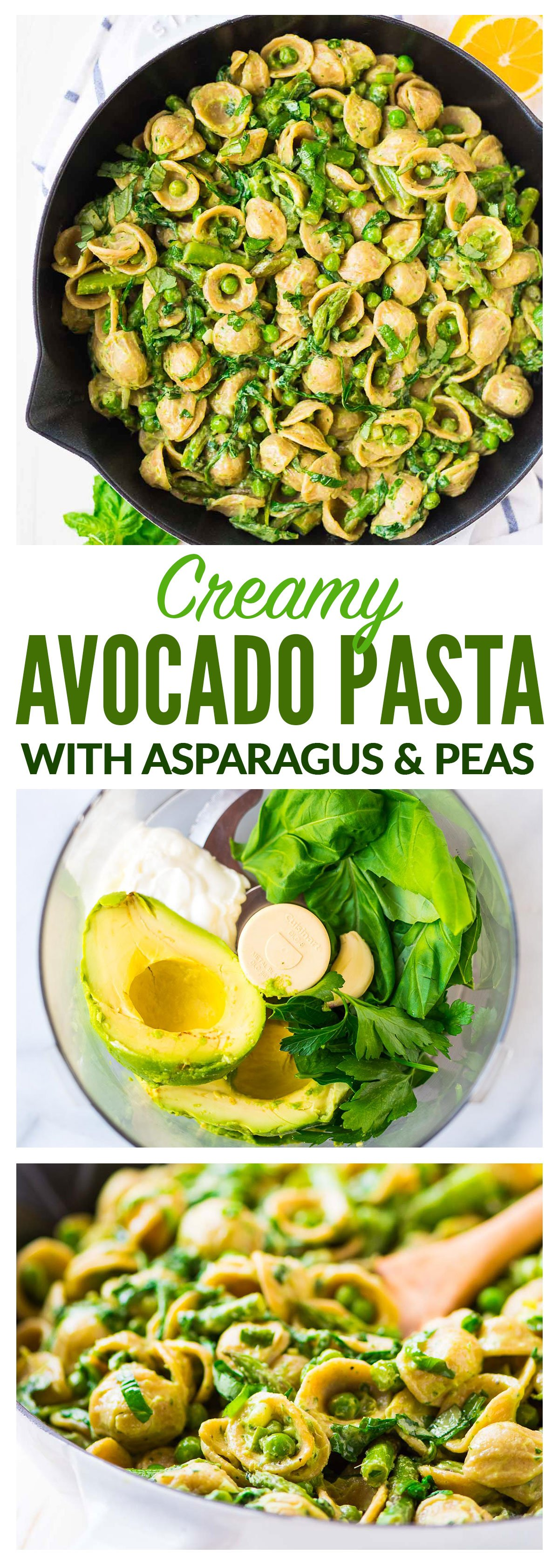 Avocado Pasta — Greek yogurt and avocado makes the CREAMIEST pasta sauce, no butter and no heavy cream required! Add asparagus, peas, spinach or any other vegetable or even chicken. Easy and healthy. #avocado #recipe #pasta #weeknightdinner #vegetarian #recipe #healthy #easy #asparagus