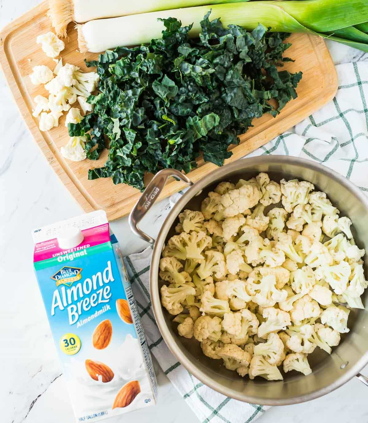 Almond orchard and a low carb mashed cauliflower recipe with kale and leeks