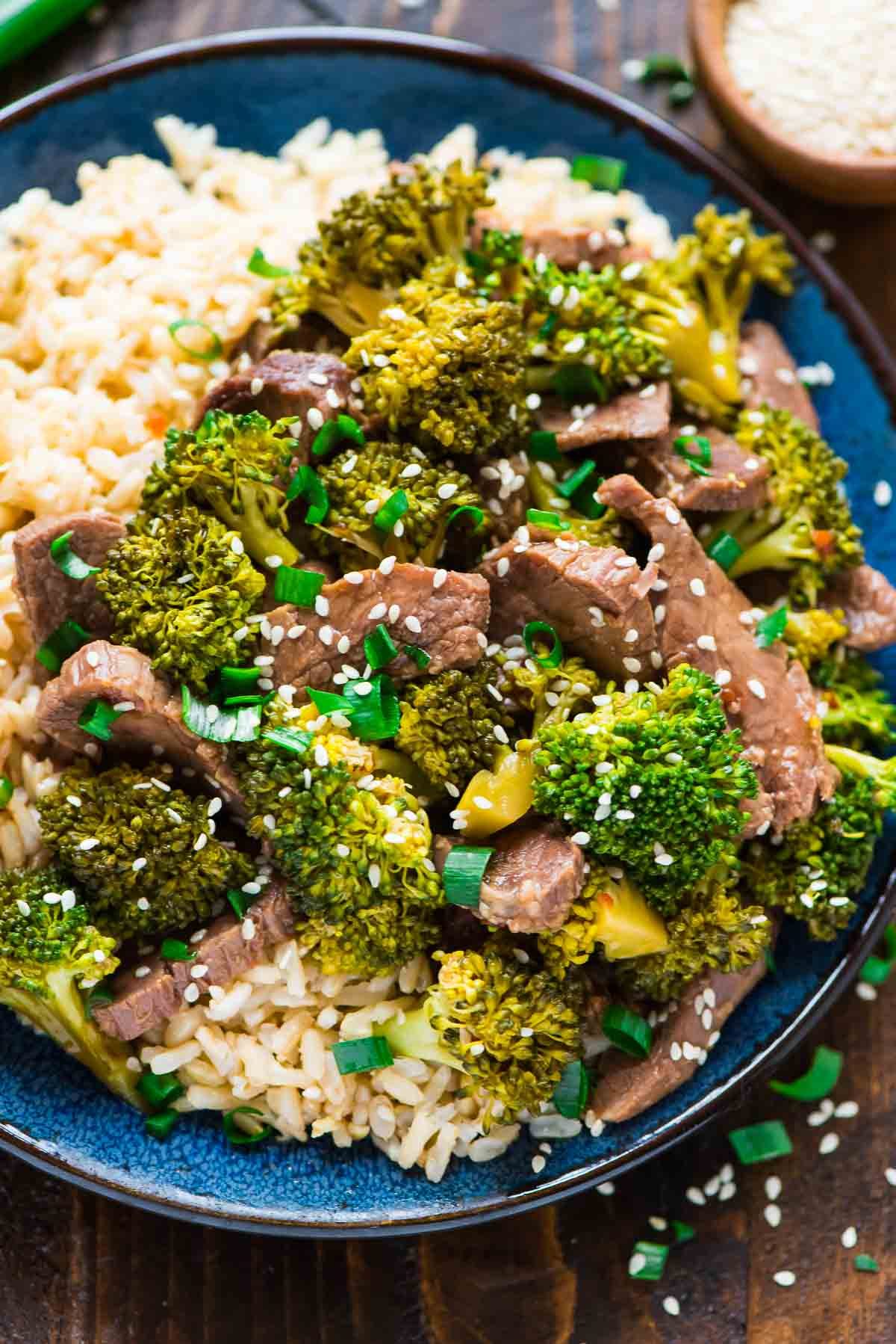 plate of Crock Pot Beef and Broccoli with rice