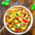 bowl of Crock Pot Mexican Casserole topped with melted cheese