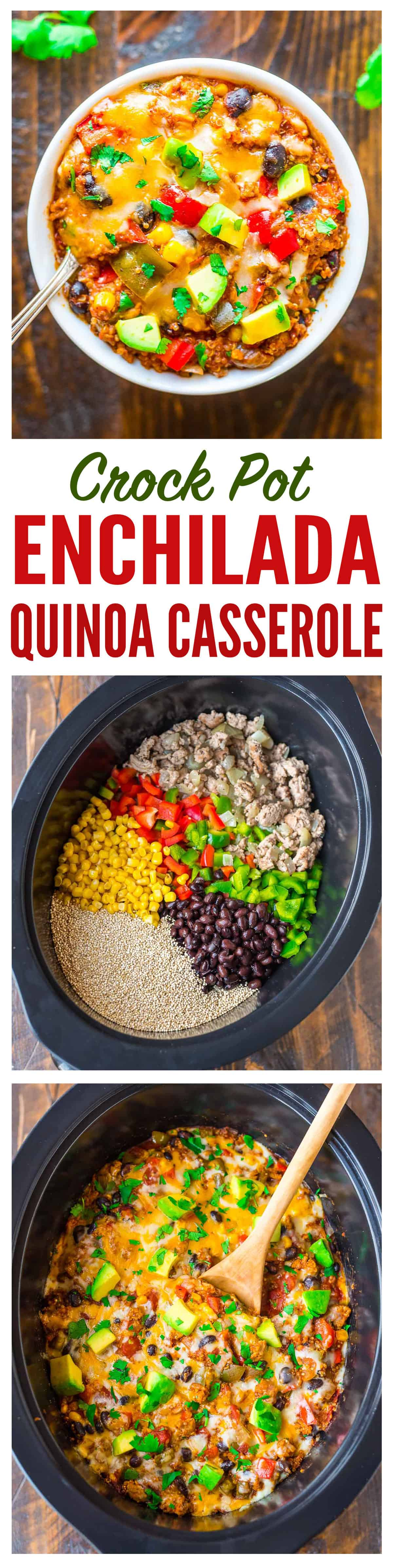 Super easy and DELICIOUS Crock Pot Mexican Casserole with quinoa, black beans, and chicken or turkey. Healthy comfort food, gluten free, and our whole family LOVES it!