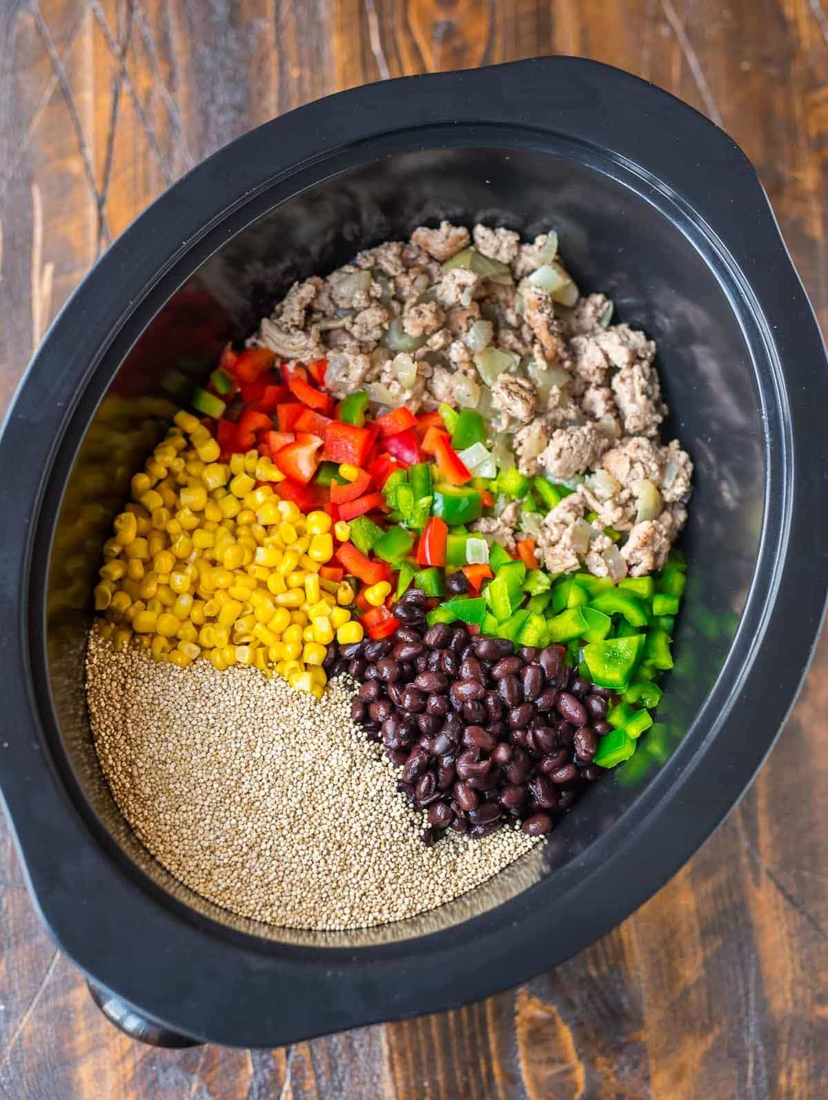 Crock Pot Mexican Casserole with Quinoa, Black Beans, and Ground Turkey. An easy, healthy slow cooker recipe. Gluten free, healthy comfort food!