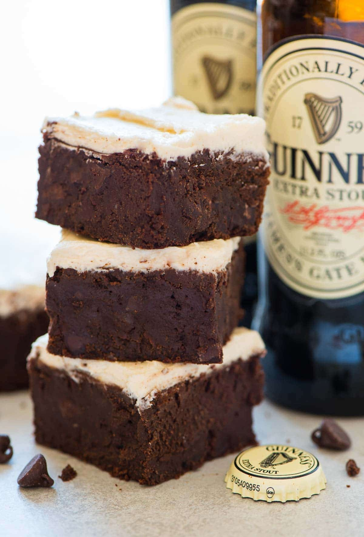 Guinness Brownies - Super moist and chewy brownies with a hint of beer! Decadent, fudgy, and easy to make. You won't be able to stop eating them, and they are the perfect St. Pattys dessert! Recipe at wellplated.com   @wellplated