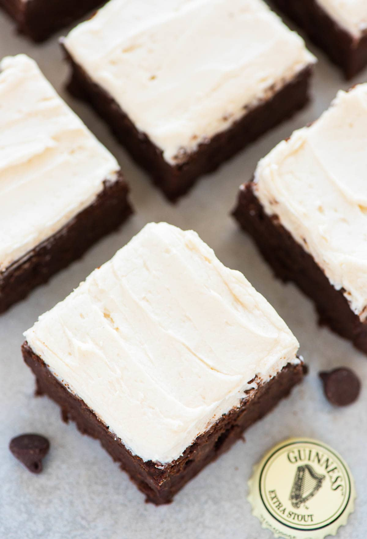 Guinness Brownies with Guinness Frosting. Fudgy, chewy brownies that are easy to make and everyone will love. Perfect St. Patricks' Day dessert! Recipe at wellplated.com | @wellplated