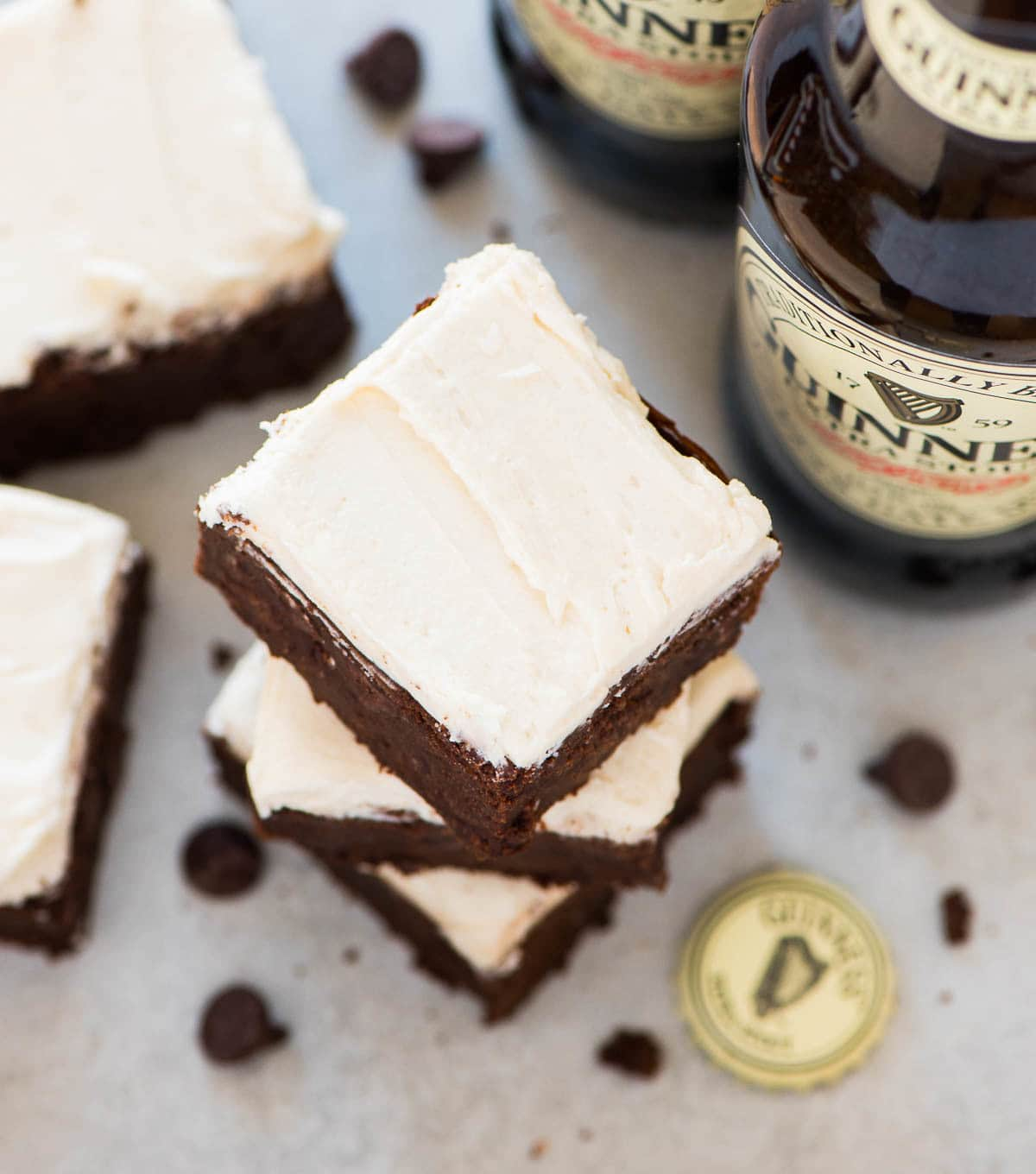 Guinness Brownies – Super moist, chewy brownies topped with creamy Guinness frosting. Decadent, gooey, and so easy to make! Recipe at wellplated.com | @wellplated