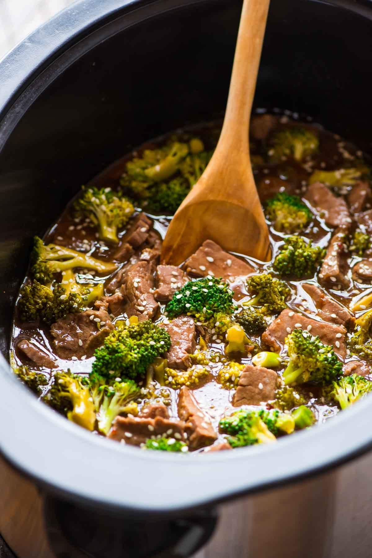 Delicious dishes of broccoli in a slow cooker