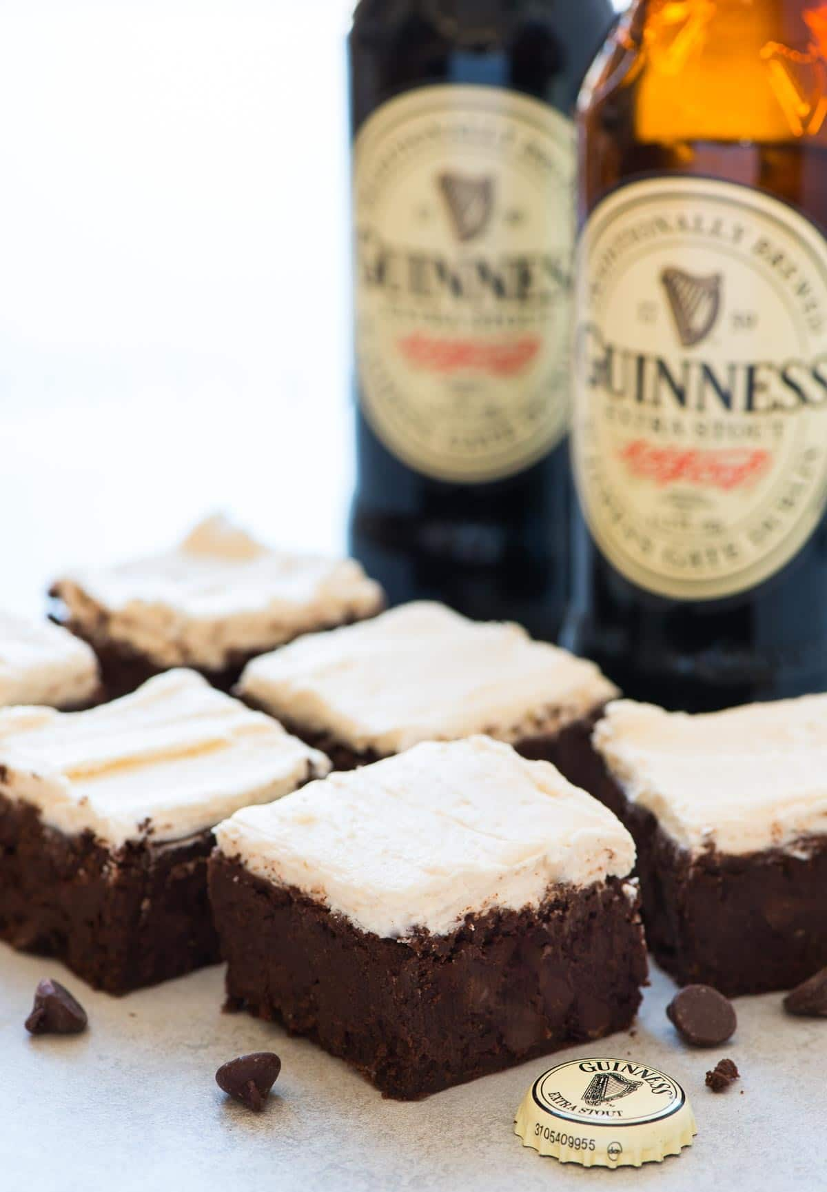 Guinness Brownies – Moist, chewy brownies. Super decadent with creamy Guinness frosting. If you've never had beer brownies before, you HAVE to try this stout brownie recipe! Recipe at wellplated.com   @wellplated