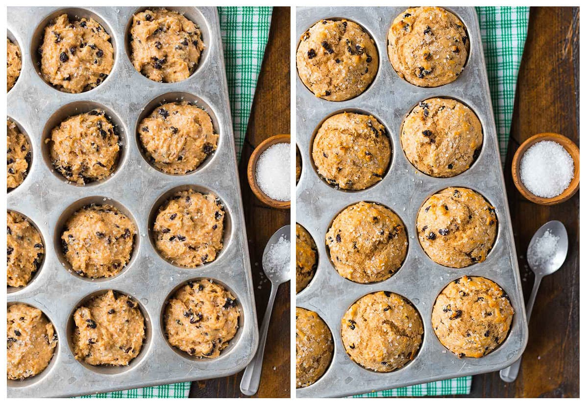 Traditional Irish Soda Bread Muffins with currants and caraway. Moist, fluffy, and absolutely delicious! A great alternative to Irish soda bread that's easier to make and serve. Recipe at wellplated.com | @wellplated