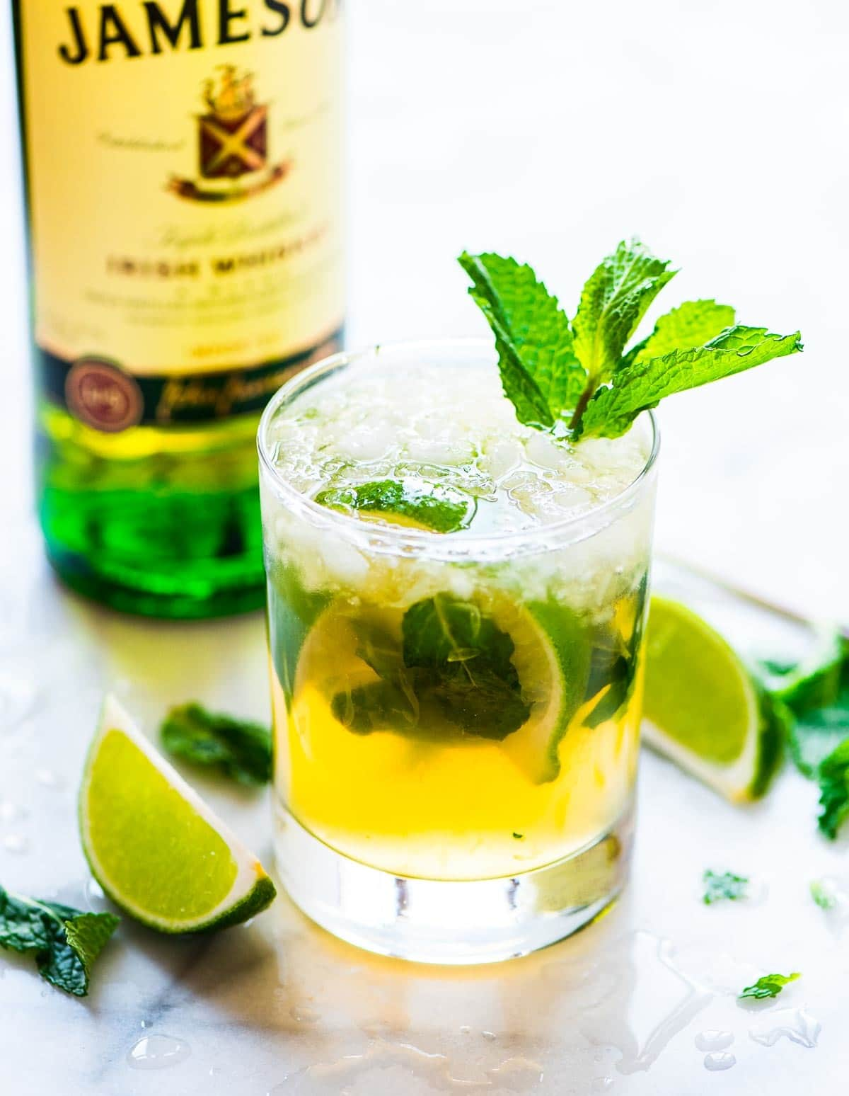 Irish Whiskey Smash – a green twist on the classic recipe makes the perfect St. Patrick's Day drink! Recipe at wellplated.com | @wellplated