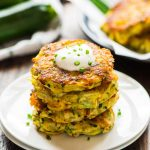 Cheesy Zucchini Potato Fritters. Picky eaters love these! Get kids to eat their veggies with this fast, easy recipe. Crispy on the outside, tender on the inside, with lots of cheese! Recipe at wellplated.com   @wellplated