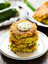 Cheesy Zucchini Potato Fritters. Picky eaters love these! Get kids to eat their veggies with this fast, easy recipe. Crispy on the outside, tender on the inside, with lots of cheese! Recipe at wellplated.com | @wellplated