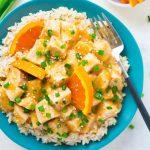 plate of Crockpot Orange Chicken