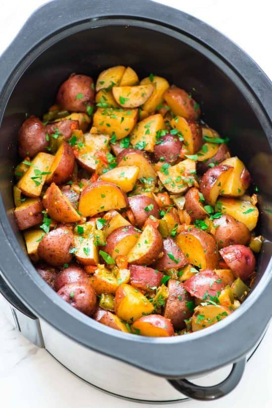 slow cooker full of tender breakfast potatoes