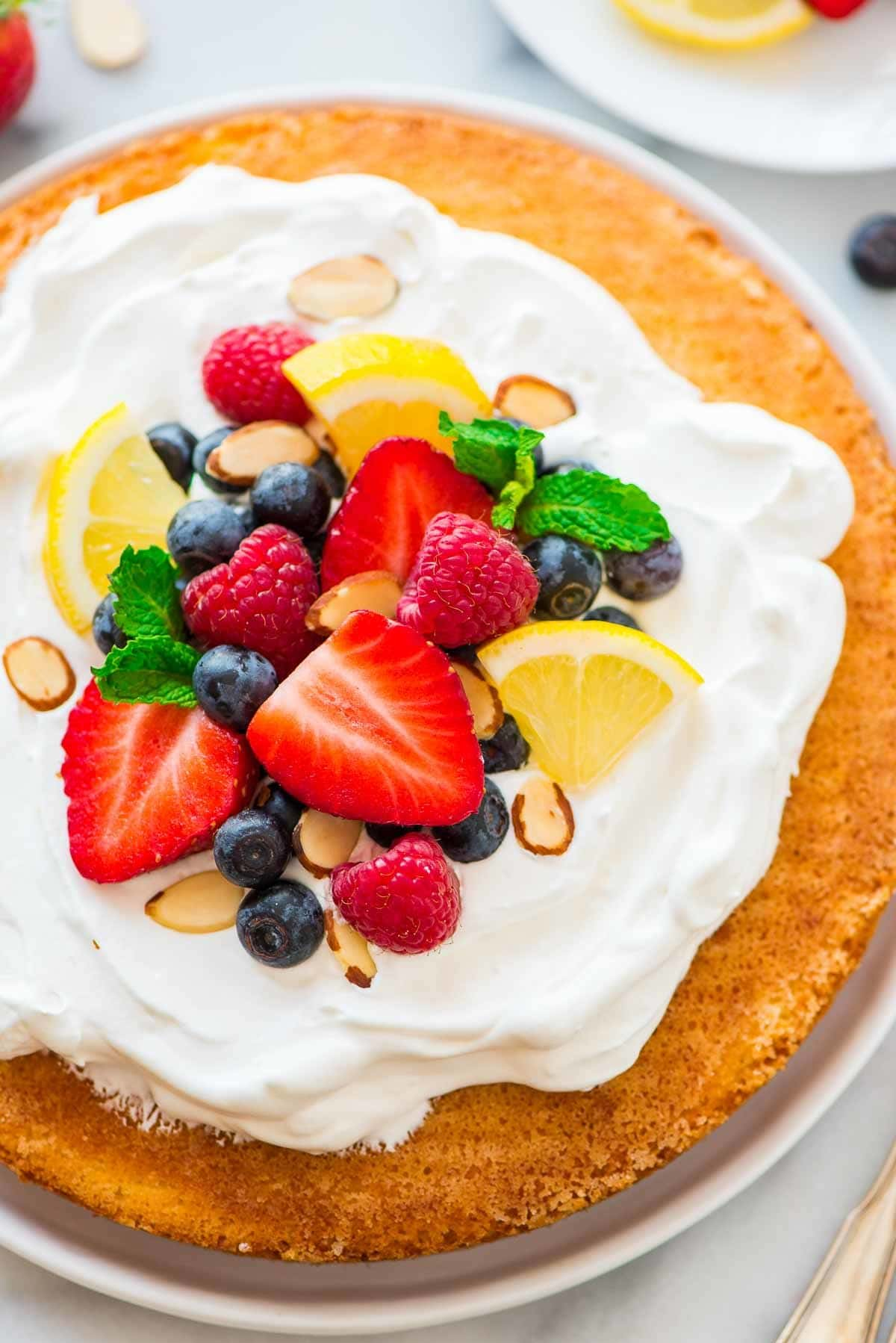 Easy Flourless Lemon Almond Flour Cake. Light, fluffy, and gluten free! Easy to make, freezer friendly, and perfect for any holiday or party. Recipe at wellplated.com | @wellplated