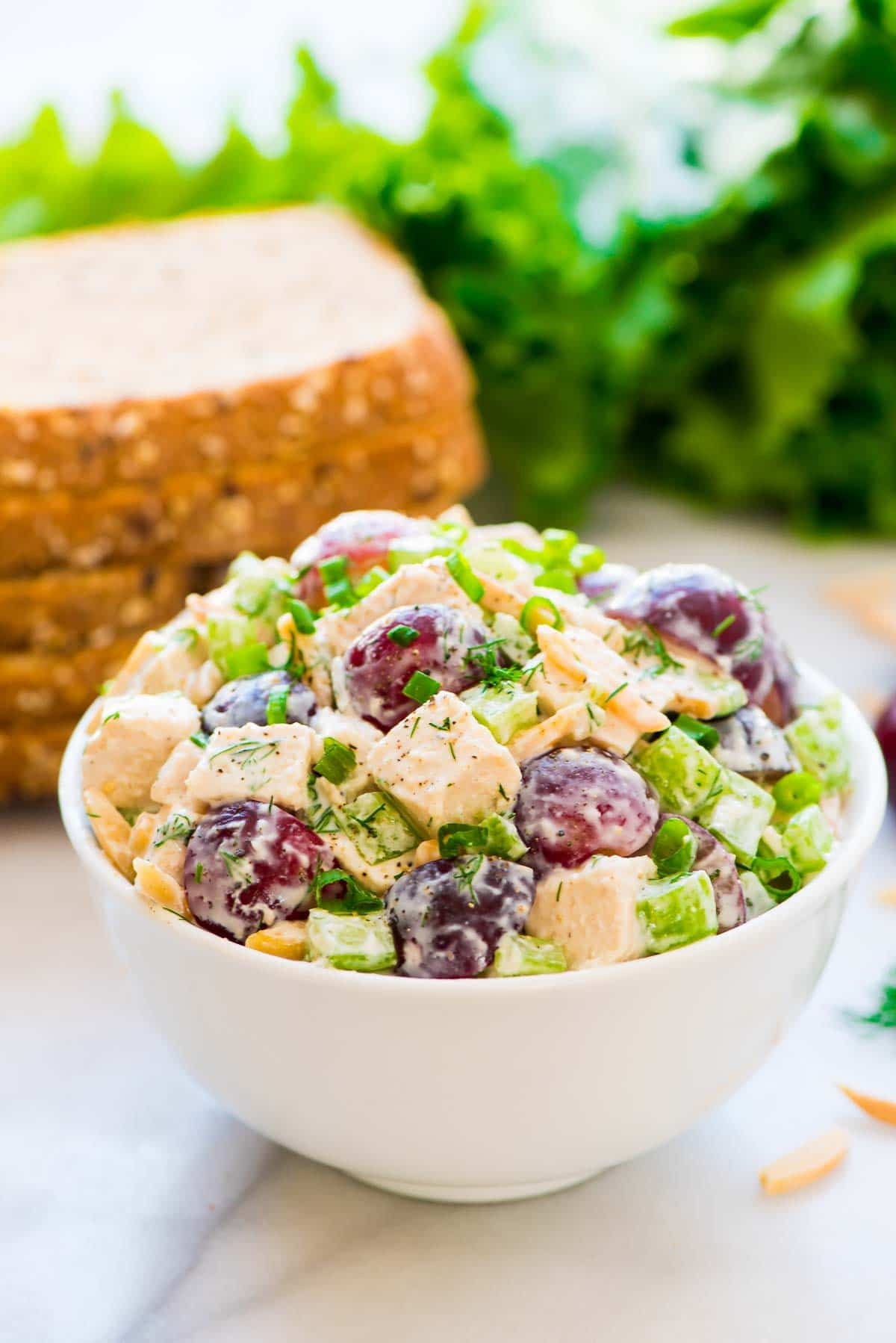 Greek yogurt chicken salad with dill easy and healthy healthy greek yogurt chicken salad with grapes celery and fresh dill perfect for forumfinder Choice Image