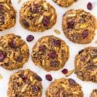 Peanut Butter Protein Cookies - 6g. protein, NO protein powder required! Flourless, naturally sweetened with banana, and loaded with oatmeal and all of your favorite mix-ins. Easy, gluten free recipe that's perfect for a healthy breakfast or post-workout snack. Recipe at wellplated.com | @wellplated