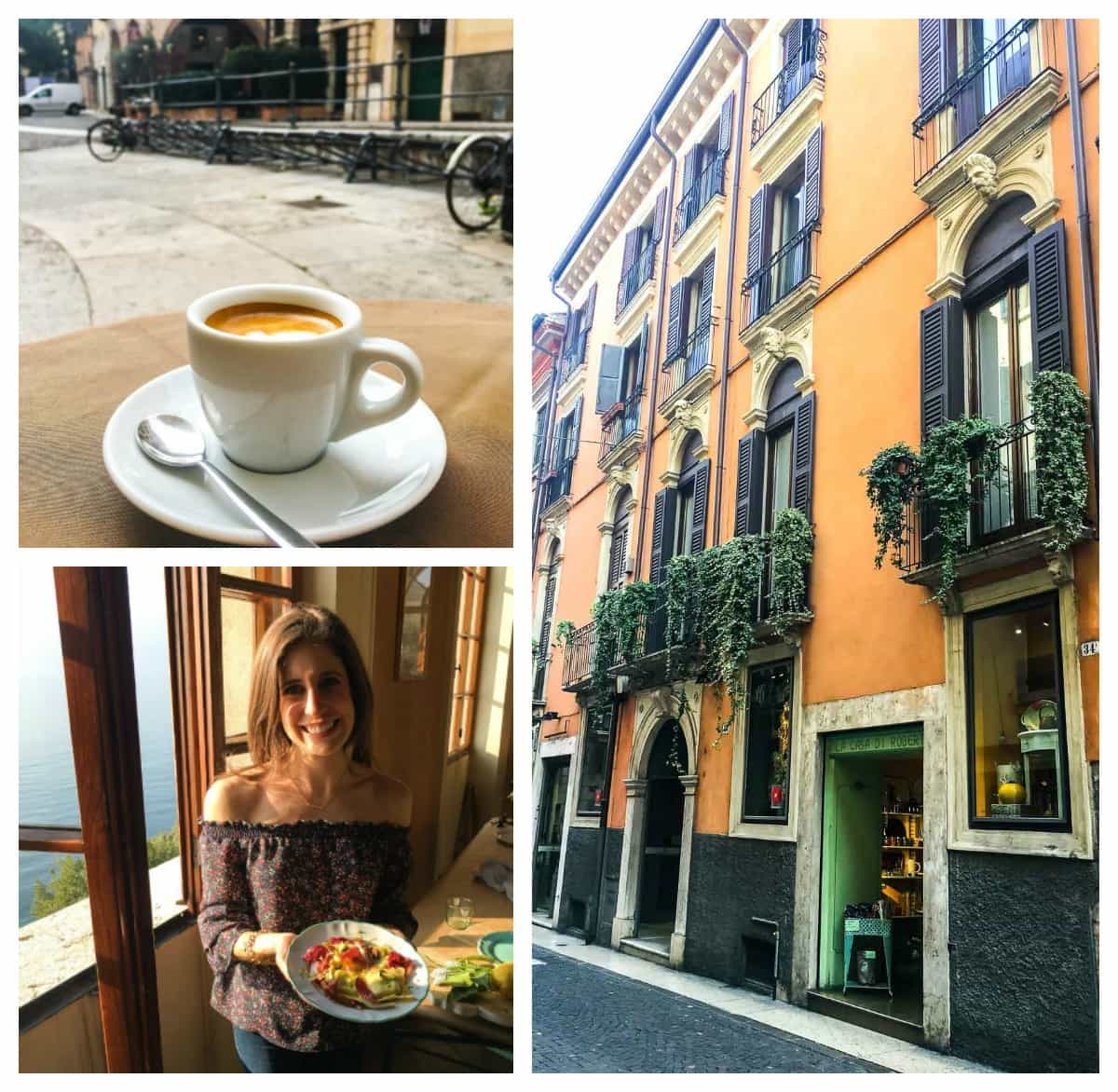 A collage of photos of a coffee mug on a table, Erin Clarke holding a plate of food, and a street from from Italy