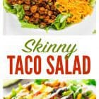 This Skinny Taco Salad recipe, made with ground turkey, is my at-home version of a classic restaurant salad. This Mexican-inspired salad is easy to make and healthy too! #mexican #salad #recipe #mealprep