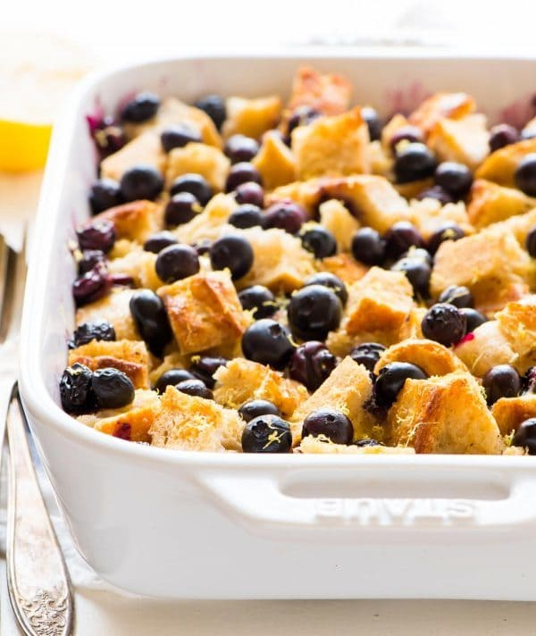 Healthy Blueberry French Toast – a lighter version of everyone's favorite overnight blueberry French toast casserole that tastes just fluffy and decadent as the original! Recipe at wellplated.com | @wellplated