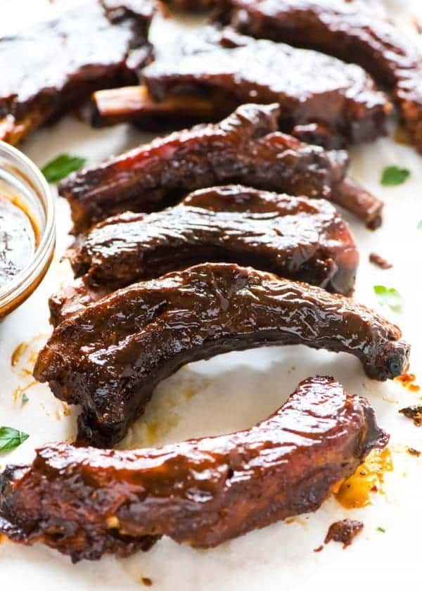 pork ribs covered with sweet and spicy sauce